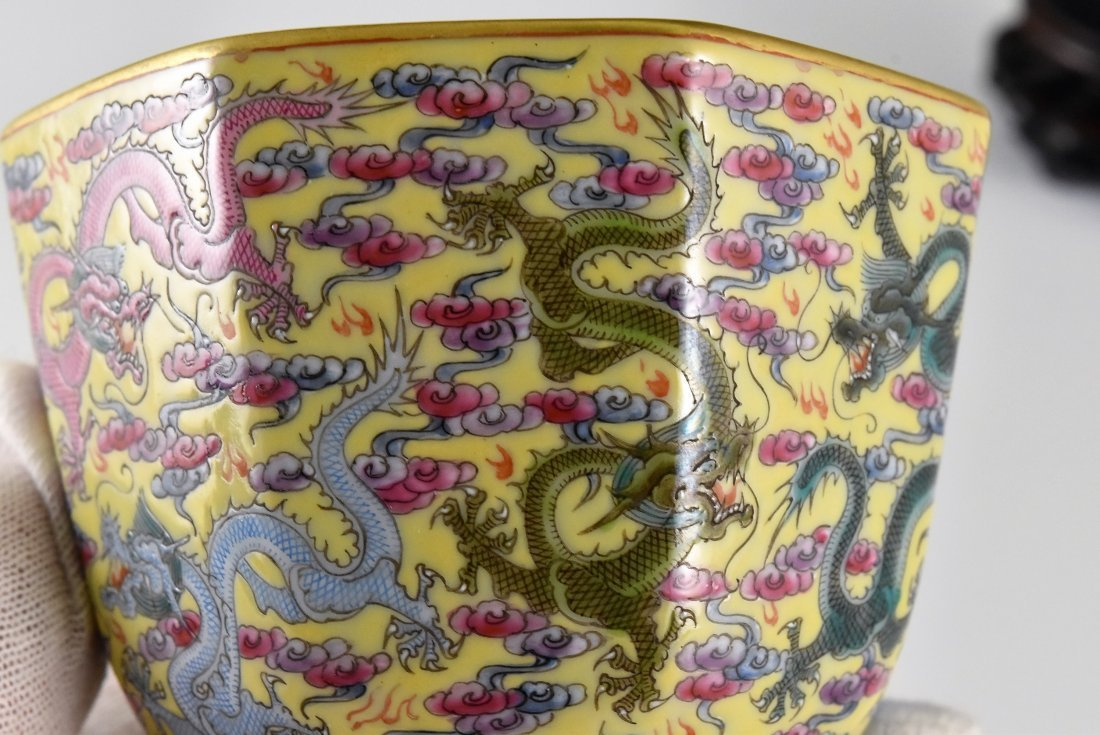 FINE DRAGONS OCTAGONAL WINE CUP ON STAND - 9