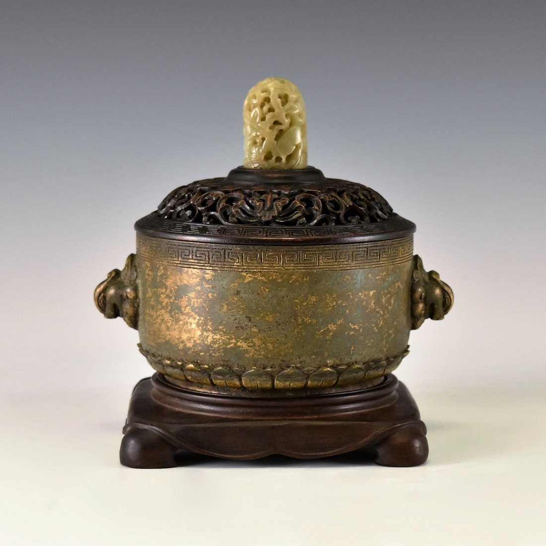 WOODEN COVERED BRONZE CENSER WITH JADE FINIAL ON STAND