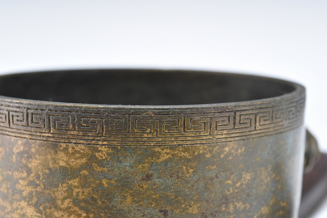 WOODEN COVERED BRONZE CENSER WITH JADE FINIAL ON STAND - 8