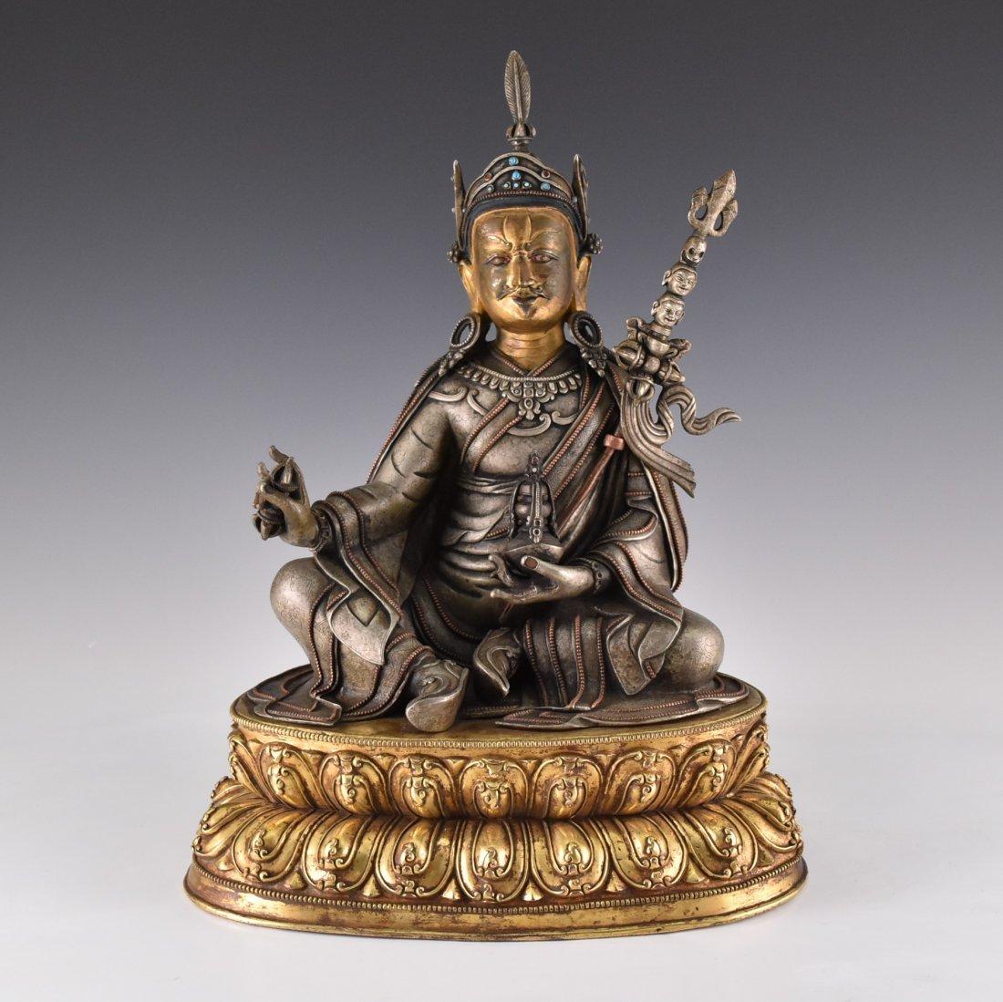 IMPORTANT, 17TH/18TH C. LARGE BRONZE SILVER GILT BUDDHA