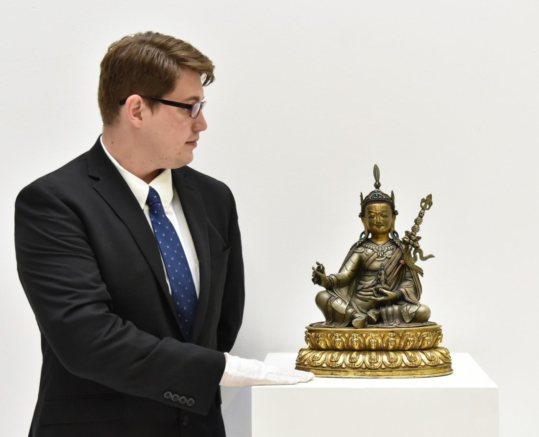 IMPORTANT, 17TH/18TH C. LARGE BRONZE SILVER GILT BUDDHA - 2