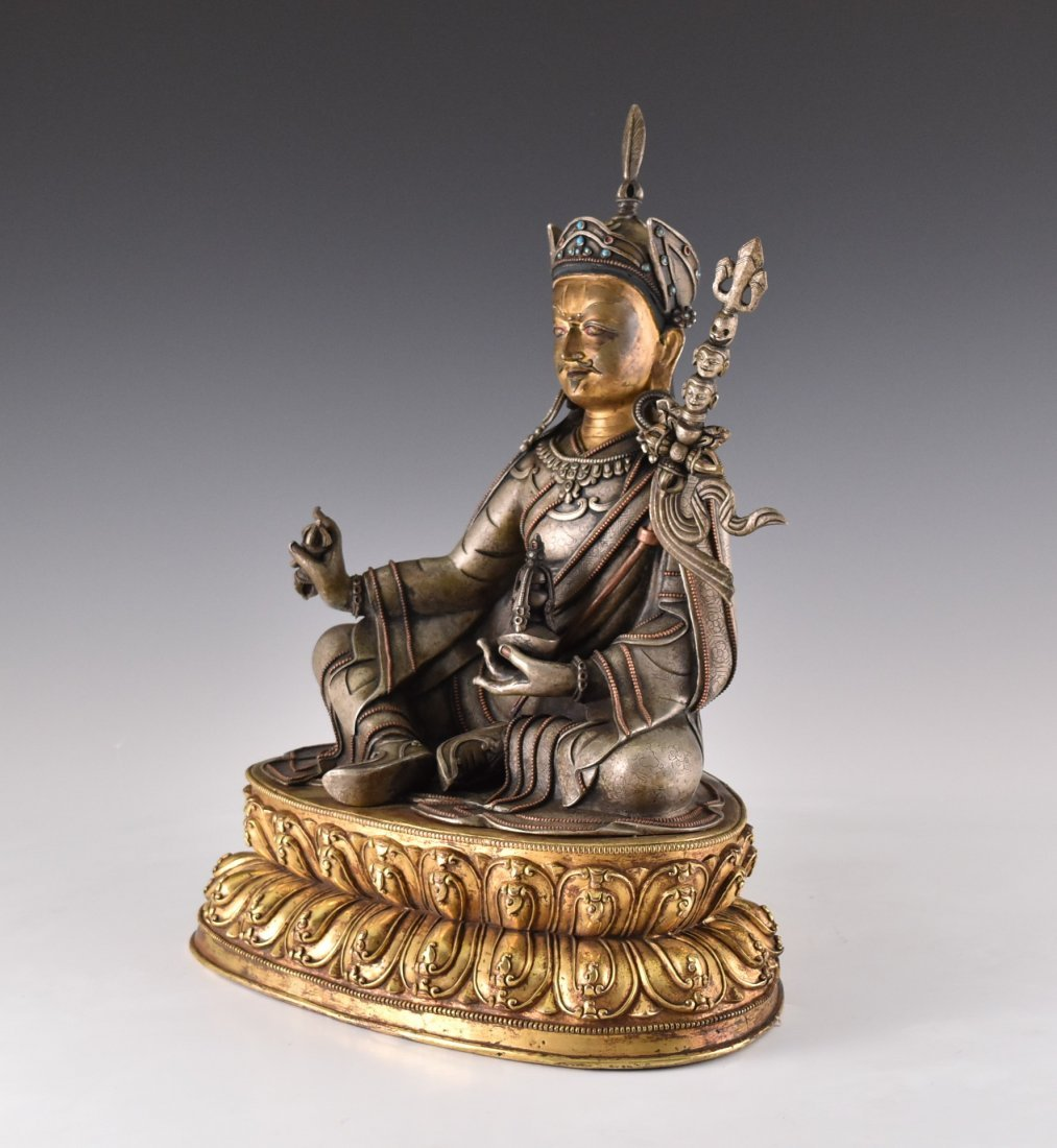 IMPORTANT, 17TH/18TH C. LARGE BRONZE SILVER GILT BUDDHA - 5