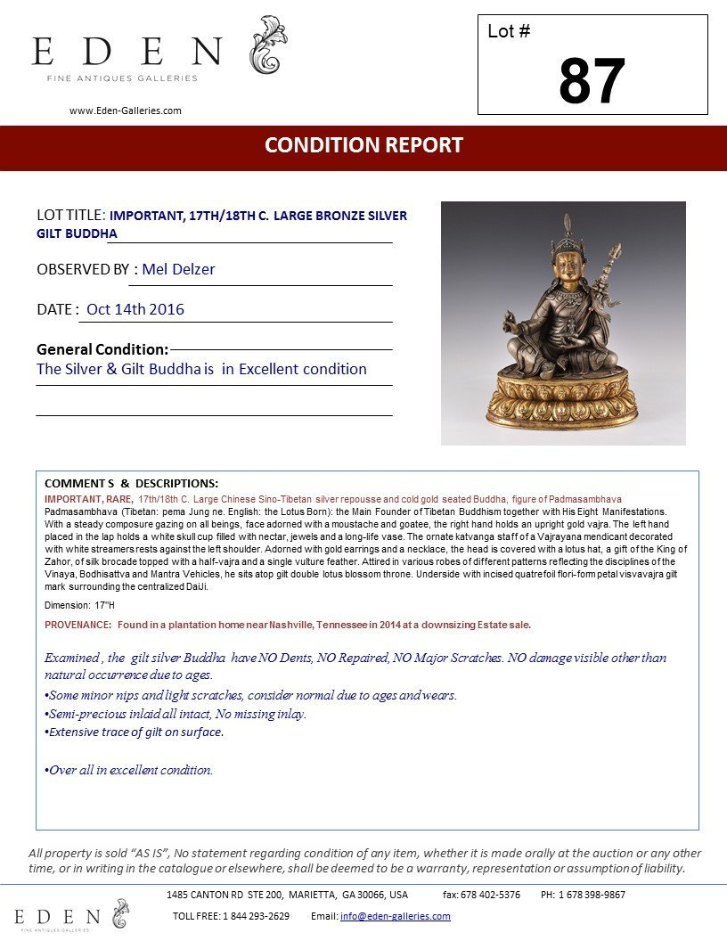 IMPORTANT, 17TH/18TH C. LARGE BRONZE SILVER GILT BUDDHA - 9