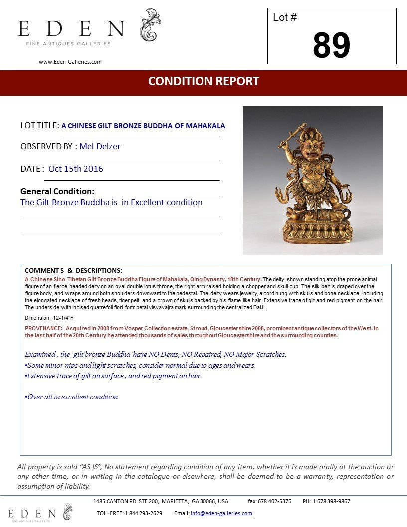 A CHINESE GILT BRONZE BUDDHA OF MAHAKALA - 10