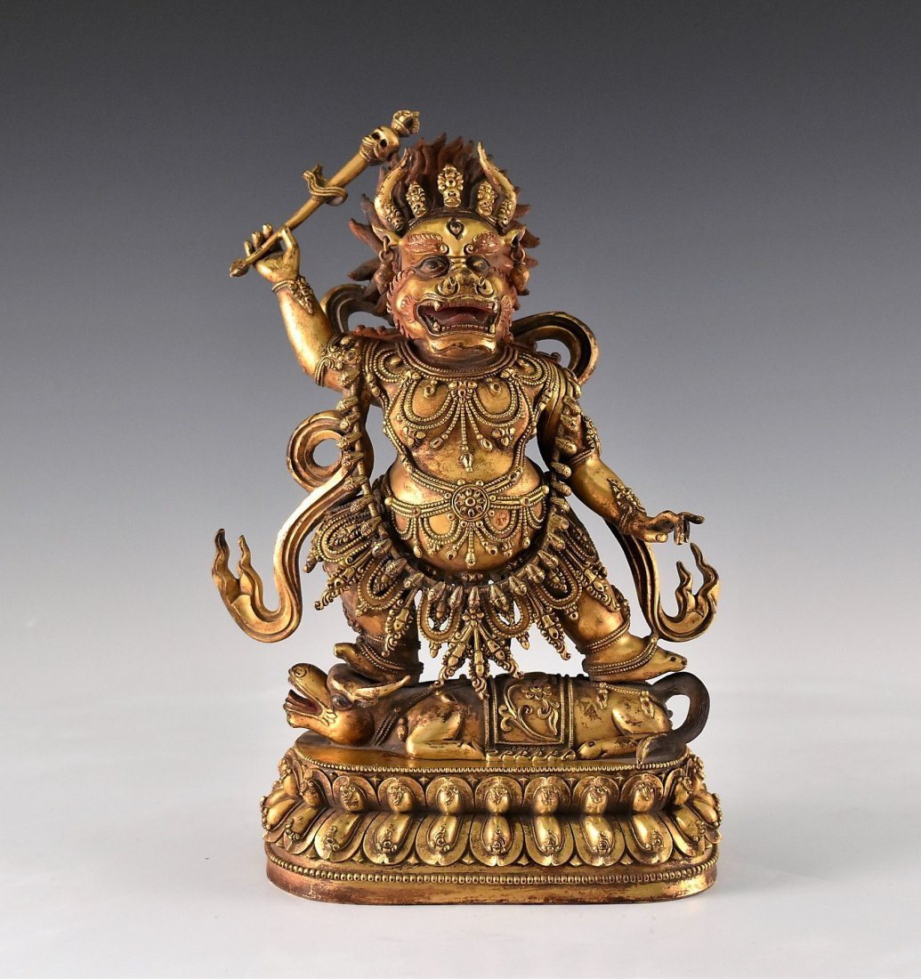 A CHINESE GILT BRONZE BUDDHA OF MAHAKALA