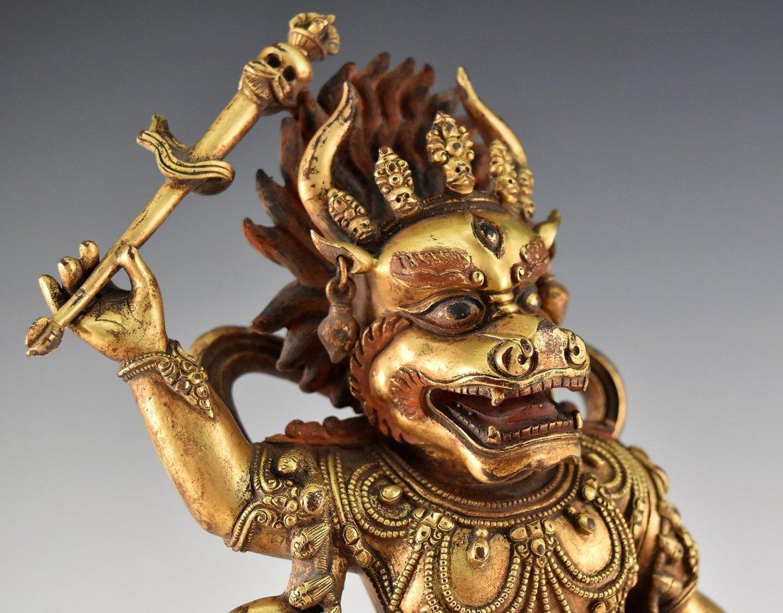 A CHINESE GILT BRONZE BUDDHA OF MAHAKALA - 6