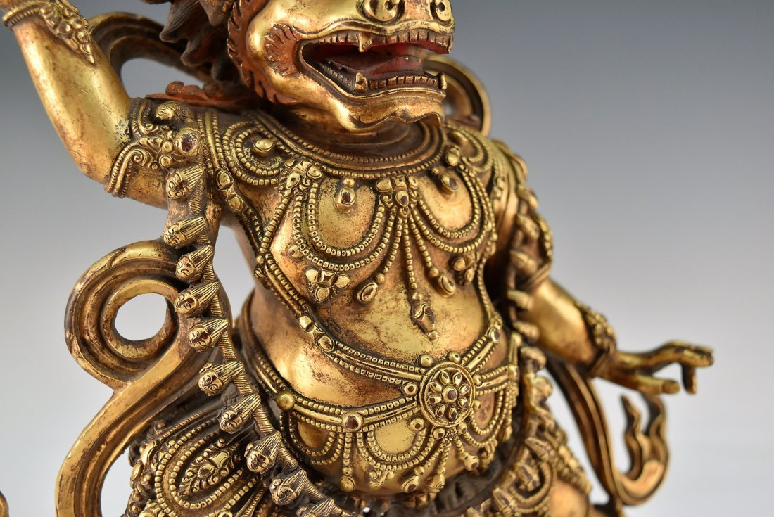 A CHINESE GILT BRONZE BUDDHA OF MAHAKALA - 7