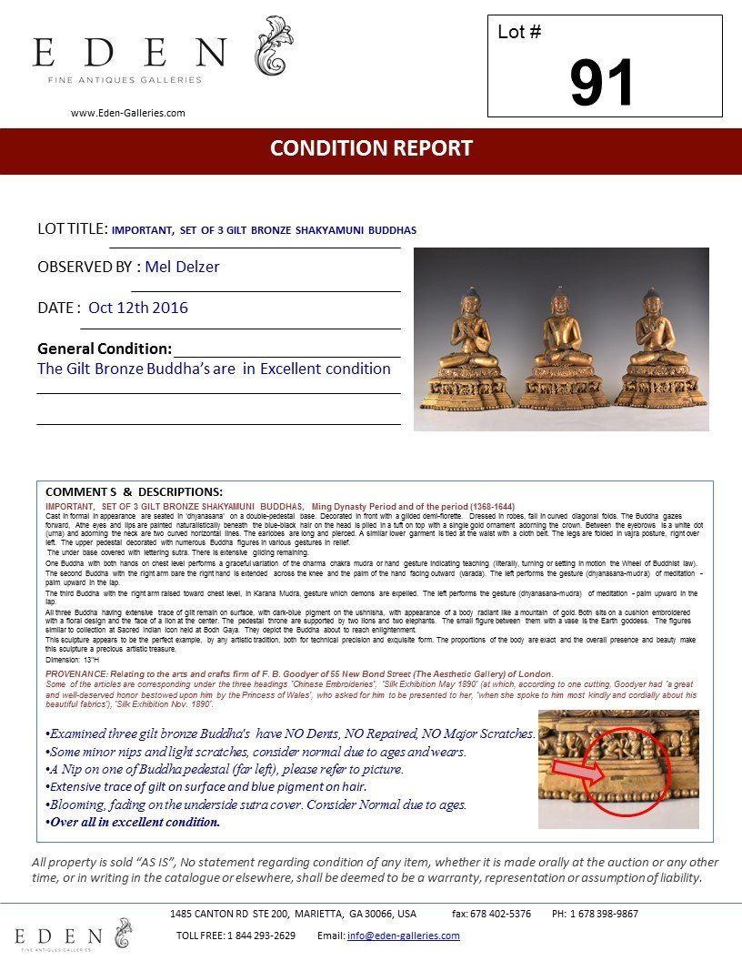 IMPORTANT, SET OF 3 GILT BRONZE SHAKYAMUNI BUDDHA'S - 10