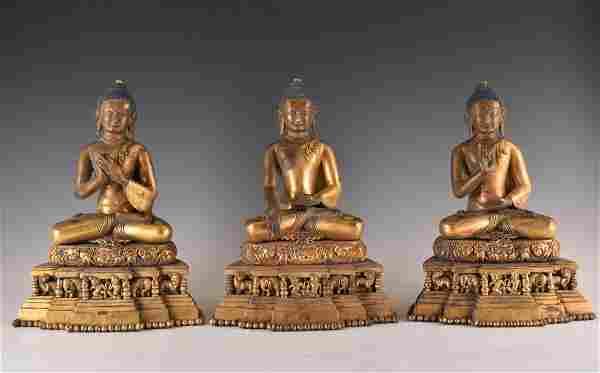 IMPORTANT, SET OF 3 GILT BRONZE SHAKYAMUNI BUDDHA'S