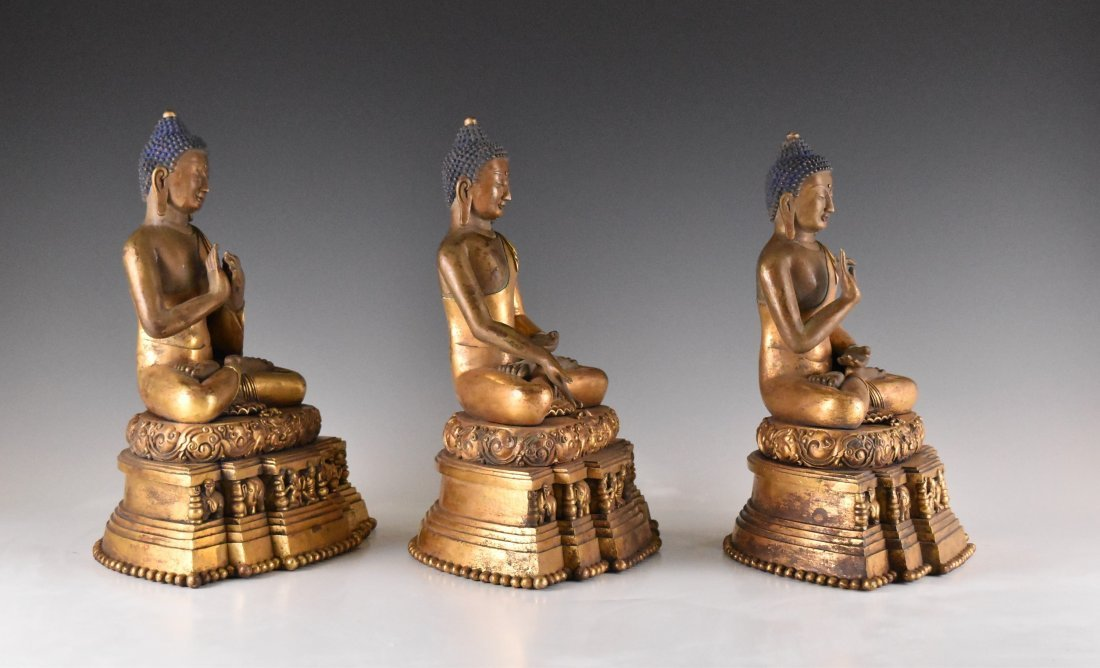 IMPORTANT, SET OF 3 GILT BRONZE SHAKYAMUNI BUDDHA'S - 2