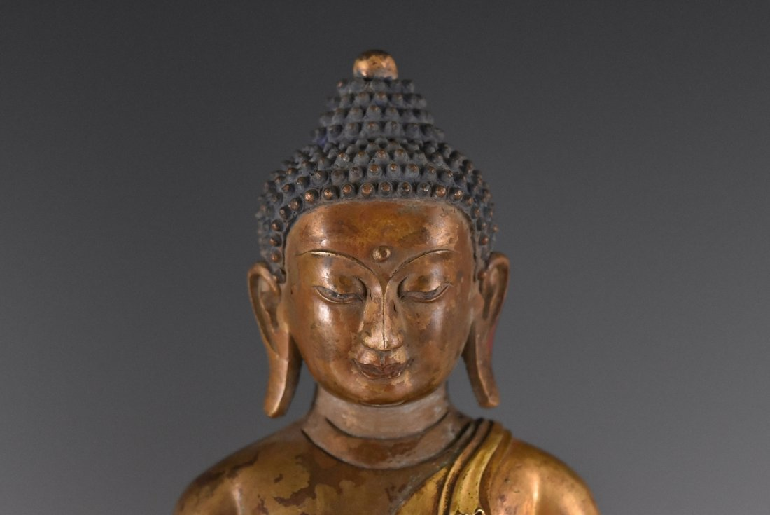 IMPORTANT, SET OF 3 GILT BRONZE SHAKYAMUNI BUDDHA'S - 8