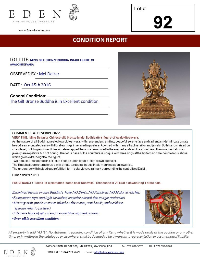 MING GILT BRONZE BUDDHA INLAID FIGURE OF - 10