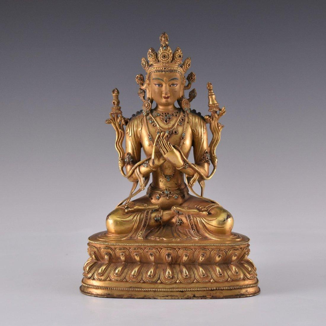 MING GILT BRONZE BUDDHA INLAID FIGURE OF
