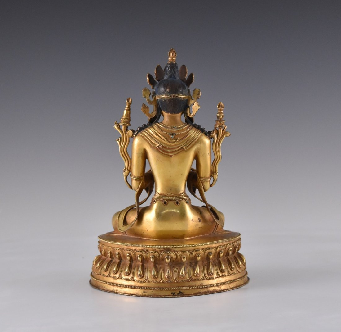 MING GILT BRONZE BUDDHA INLAID FIGURE OF - 3