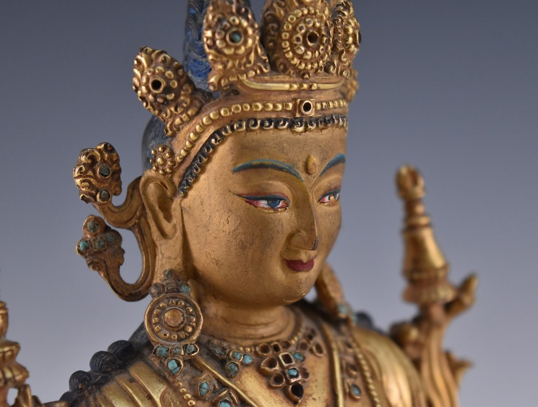 MING GILT BRONZE BUDDHA INLAID FIGURE OF - 6