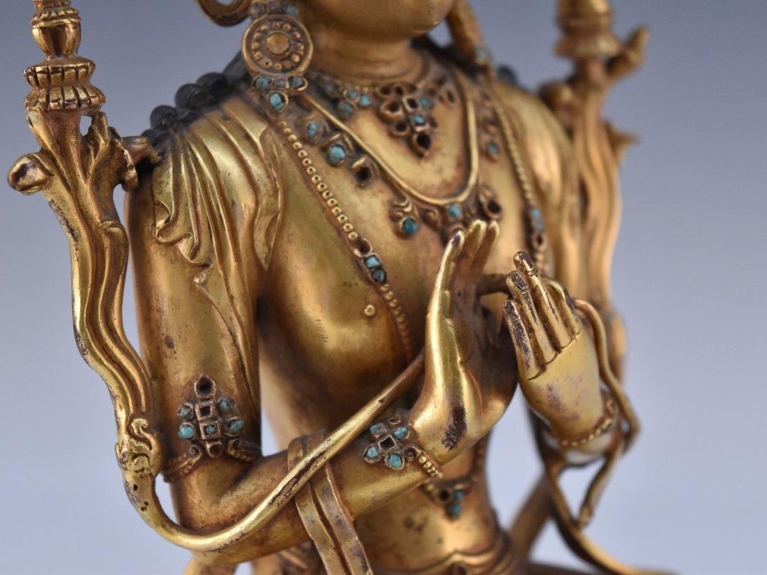MING GILT BRONZE BUDDHA INLAID FIGURE OF - 7