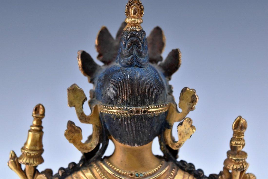 MING GILT BRONZE BUDDHA INLAID FIGURE OF - 8