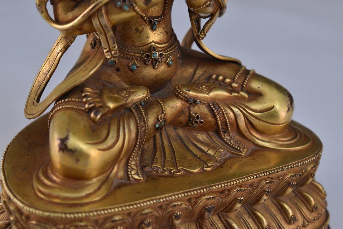 MING GILT BRONZE BUDDHA INLAID FIGURE OF - 9
