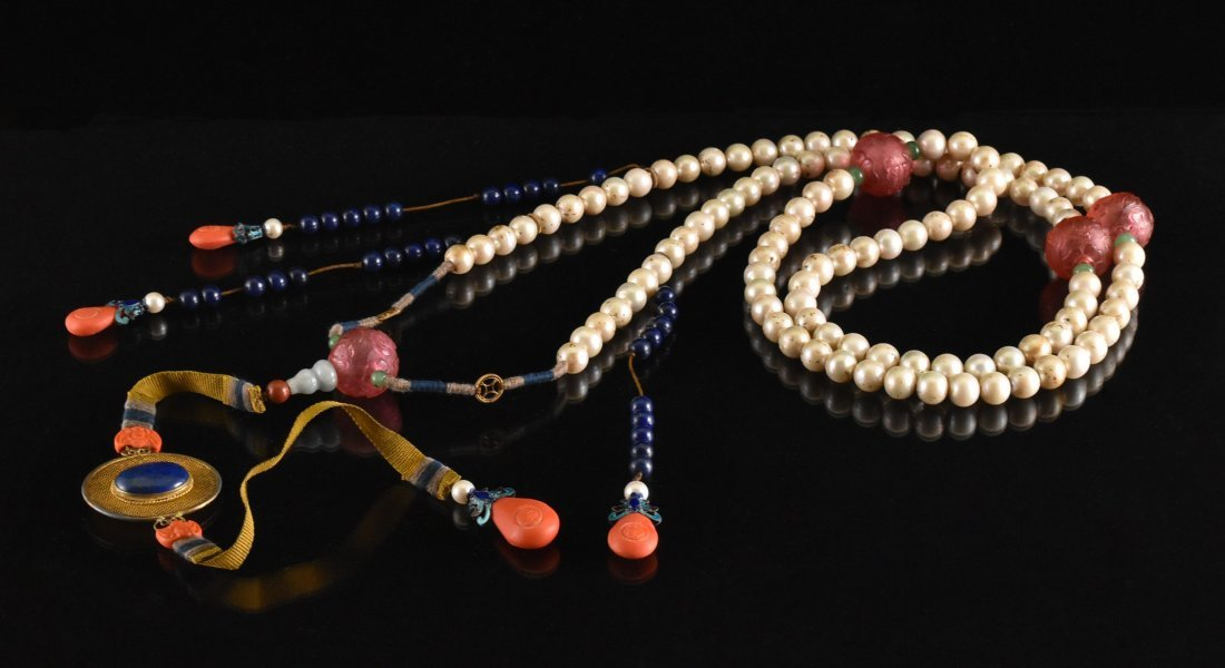 QING IMPERIAL COURT PEARL CHAOZHU COURT NECKLACE - 2