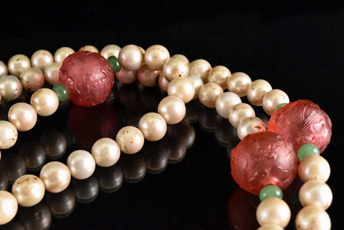 QING IMPERIAL COURT PEARL CHAOZHU COURT NECKLACE - 4