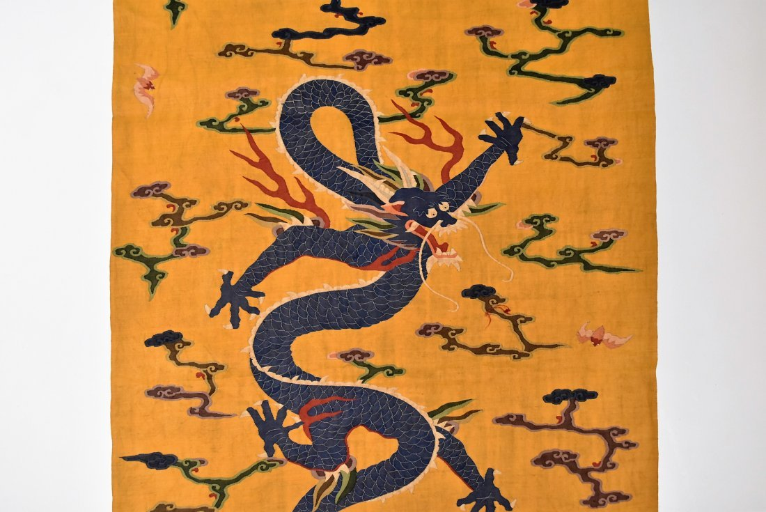 CHINESE SILK KESI, DRAGON MOTIF ON YELLOW GROUND - 3