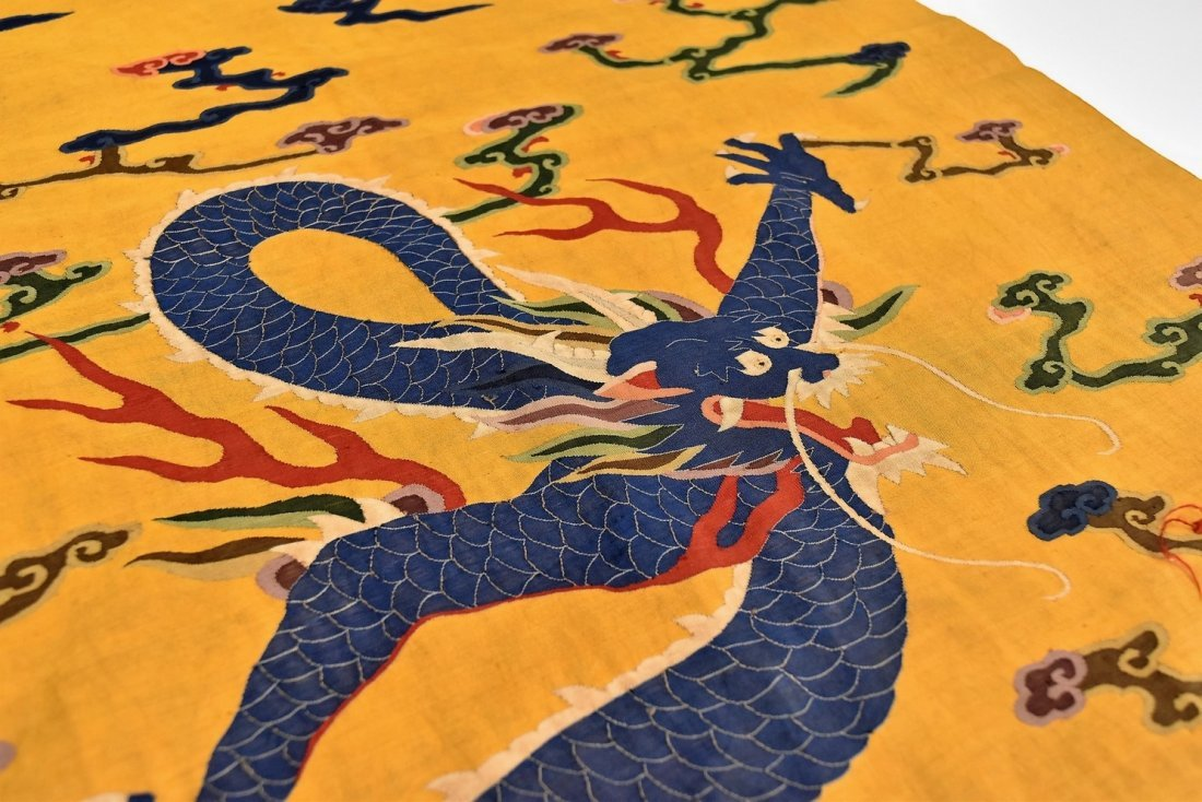 CHINESE SILK KESI, DRAGON MOTIF ON YELLOW GROUND - 5