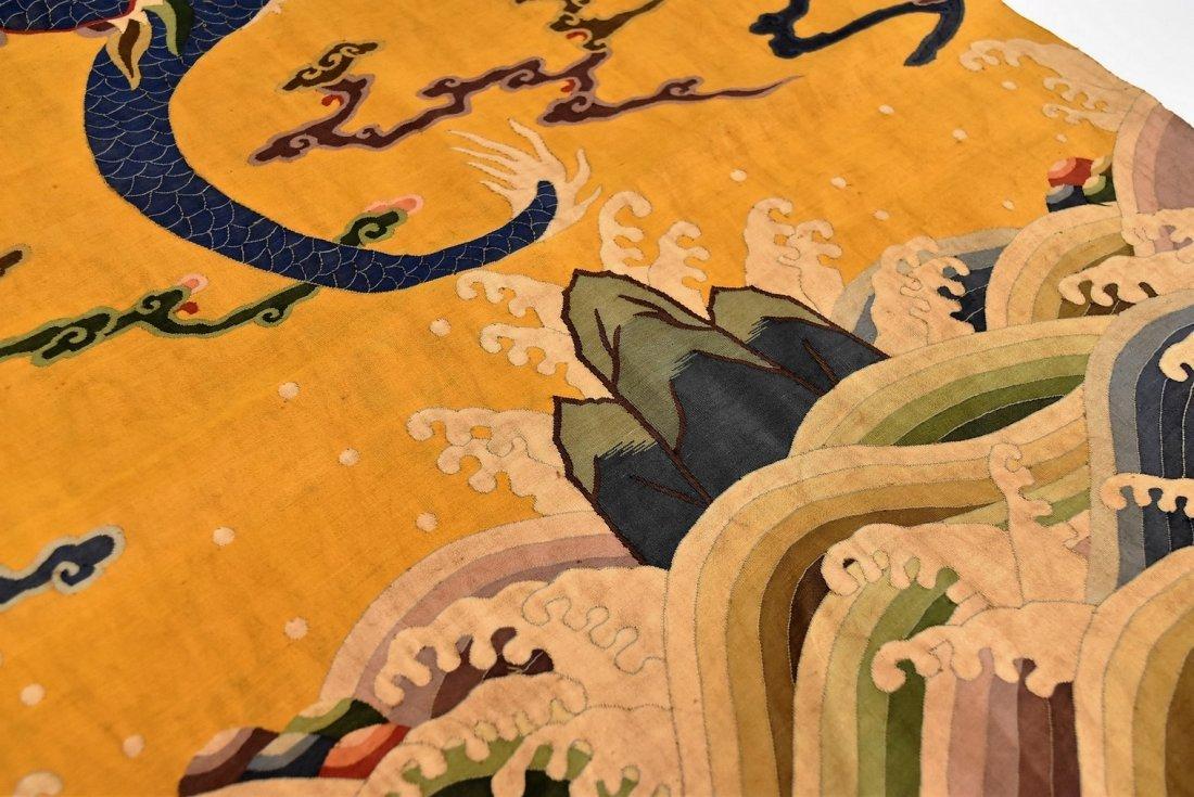 CHINESE SILK KESI, DRAGON MOTIF ON YELLOW GROUND - 6