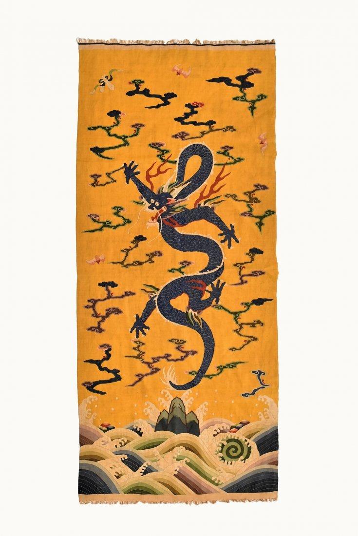 CHINESE SILK KESI, DRAGON MOTIF ON YELLOW GROUND - 8