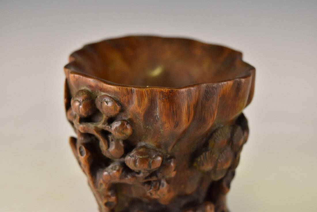 CHENXIANG WOOD LIBATION CUP ON STAND - 9