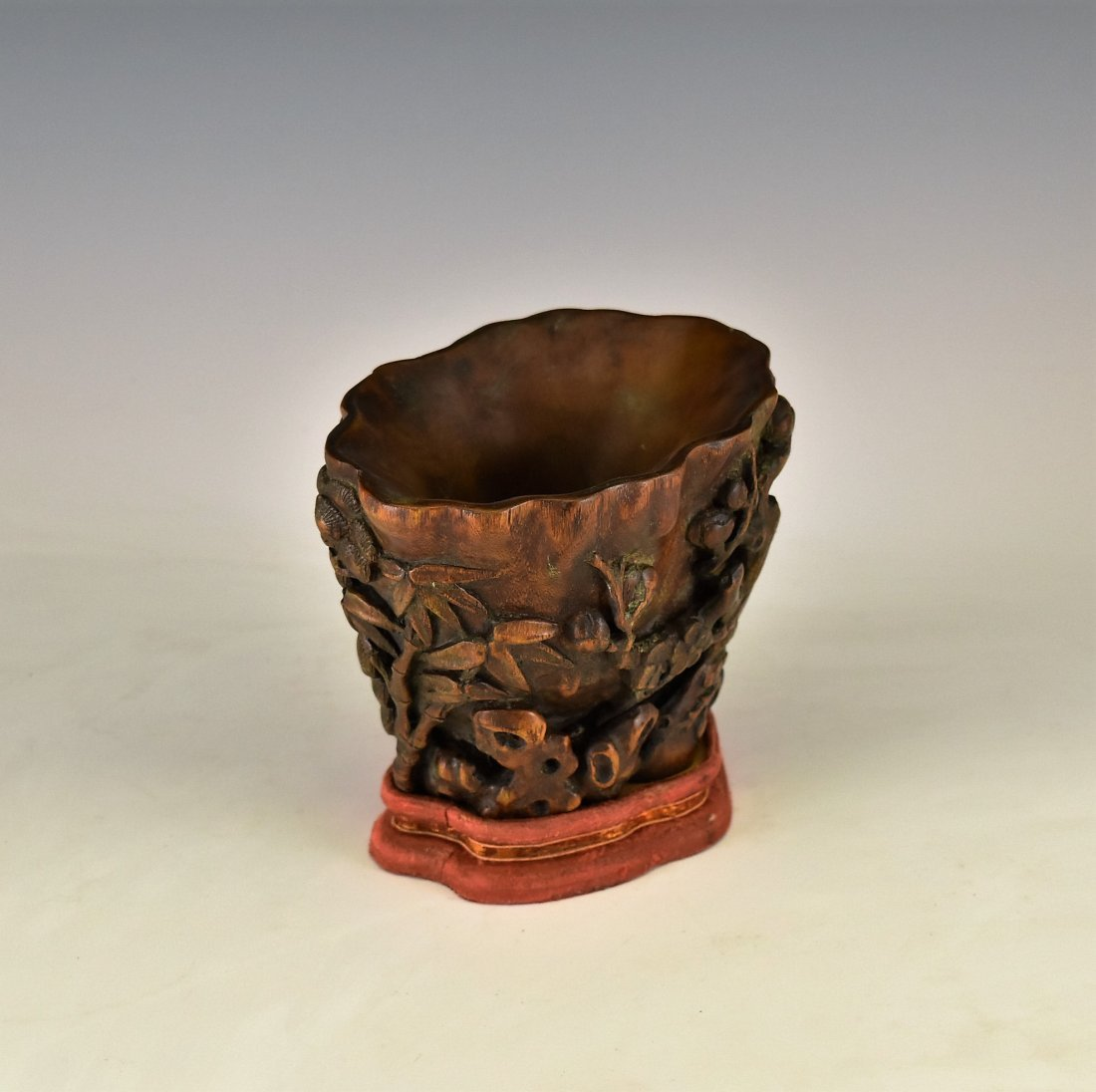CHENXIANG WOOD LIBATION CUP ON STAND - 2