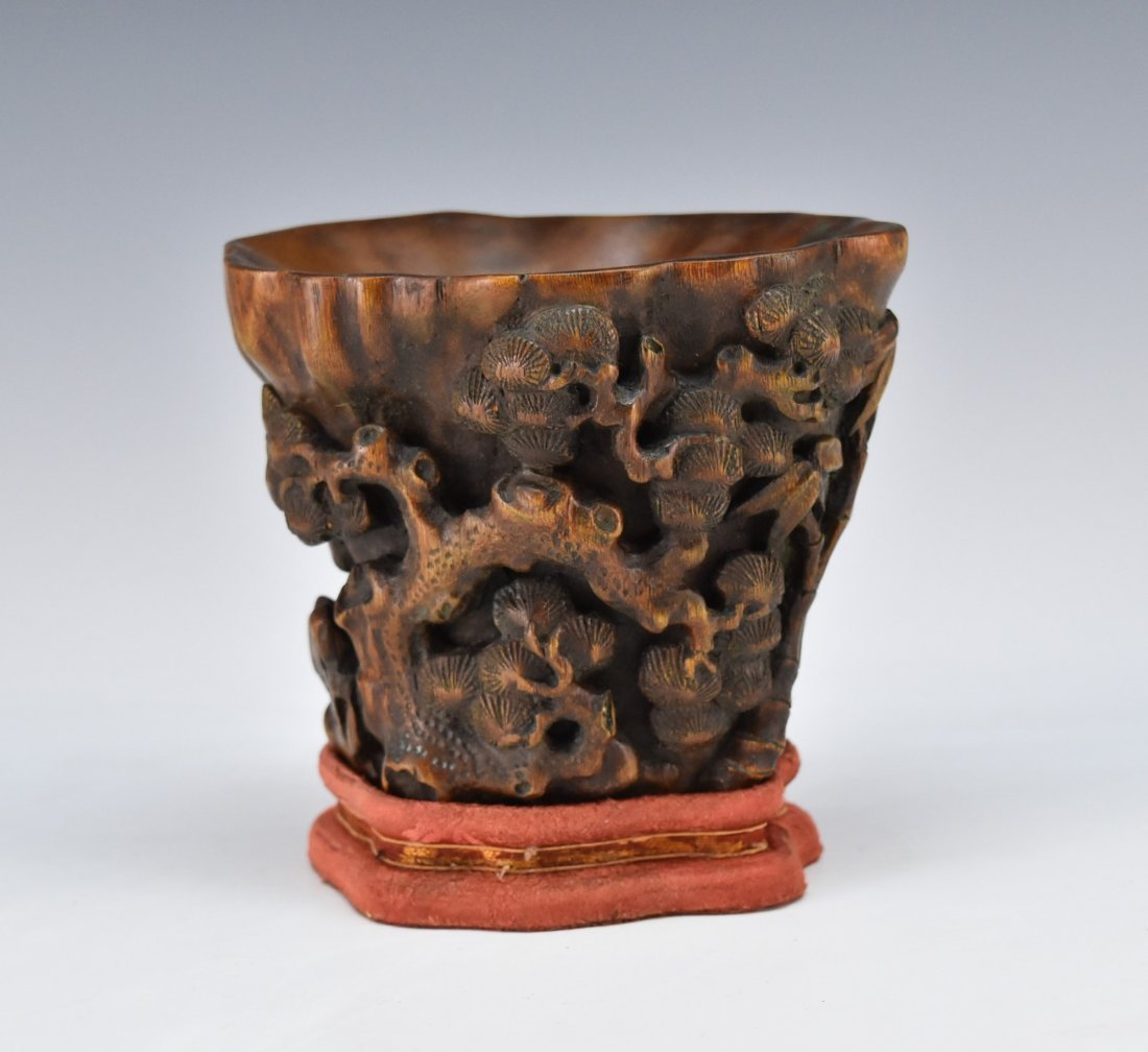 CHENXIANG WOOD LIBATION CUP ON STAND - 3