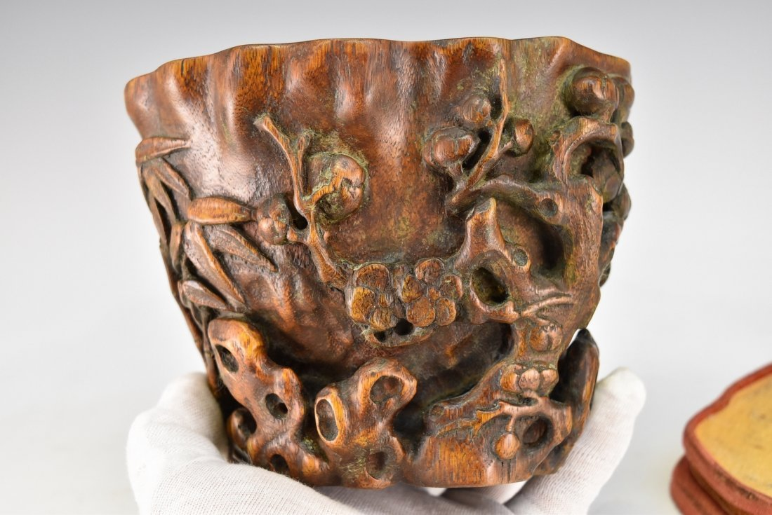 CHENXIANG WOOD LIBATION CUP ON STAND - 5