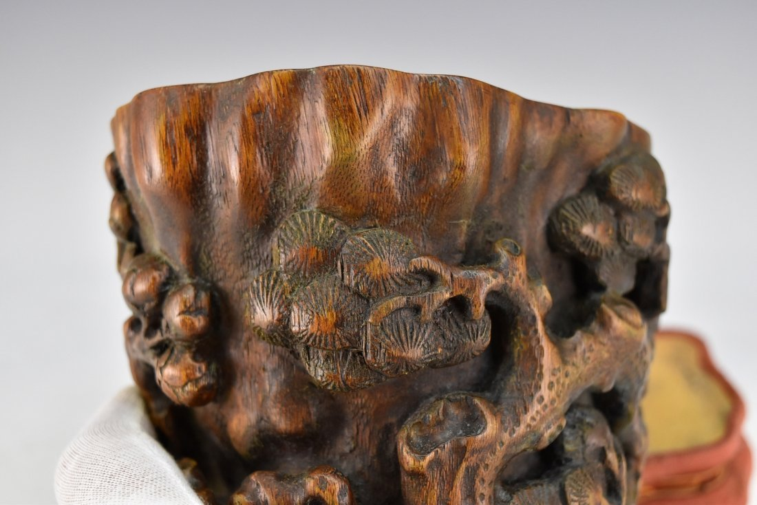 CHENXIANG WOOD LIBATION CUP ON STAND - 7