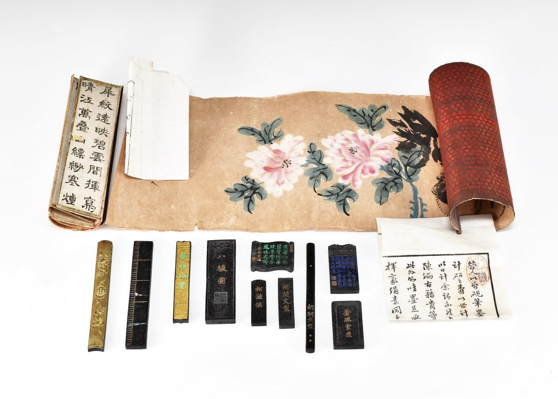 19TH C. SCROLL PAINTING AND WRITING INSTRUMENTS