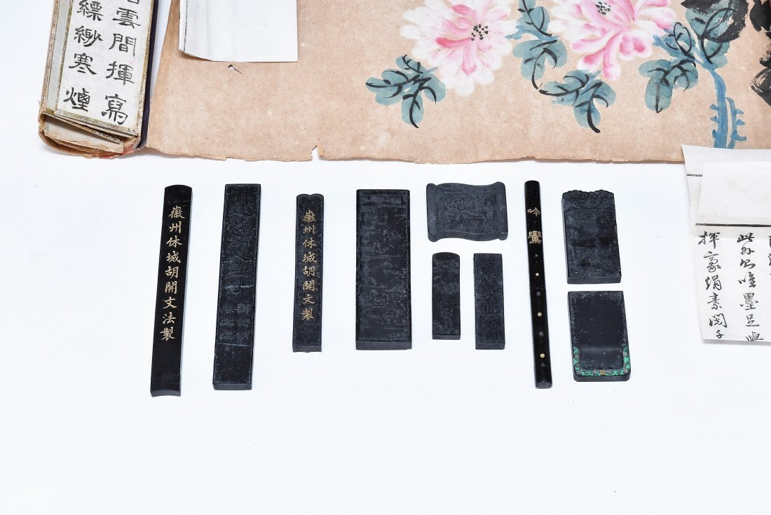 19TH C. SCROLL PAINTING AND WRITING INSTRUMENTS - 3