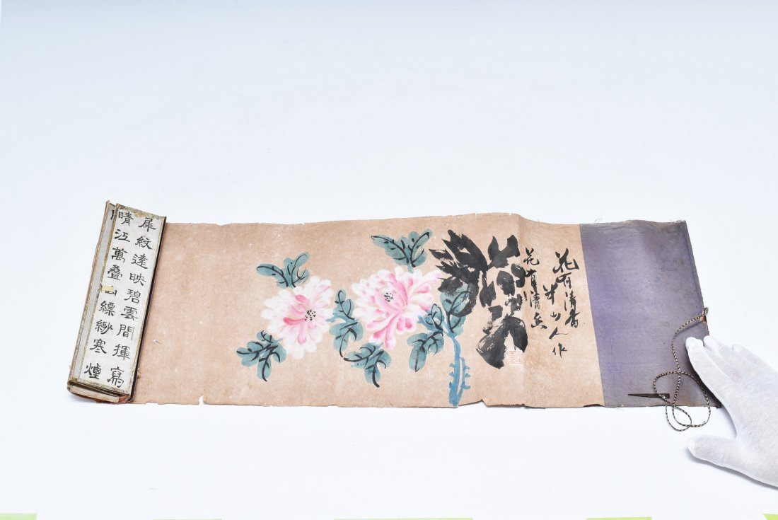19TH C. SCROLL PAINTING AND WRITING INSTRUMENTS - 5