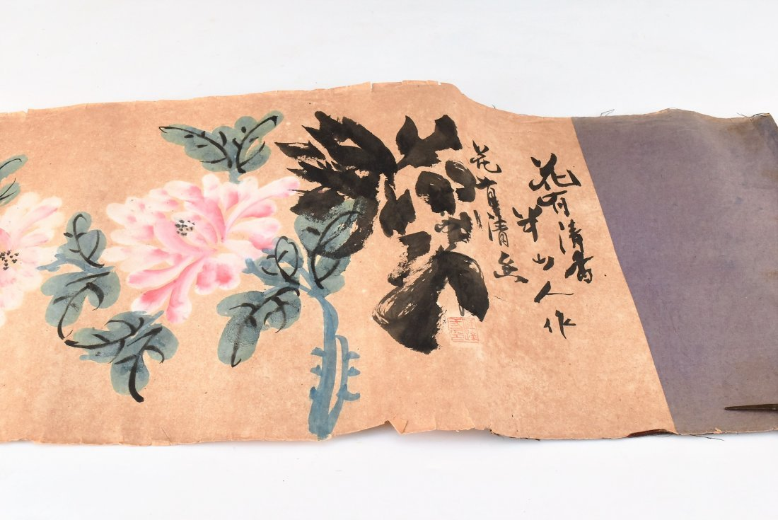 19TH C. SCROLL PAINTING AND WRITING INSTRUMENTS - 6
