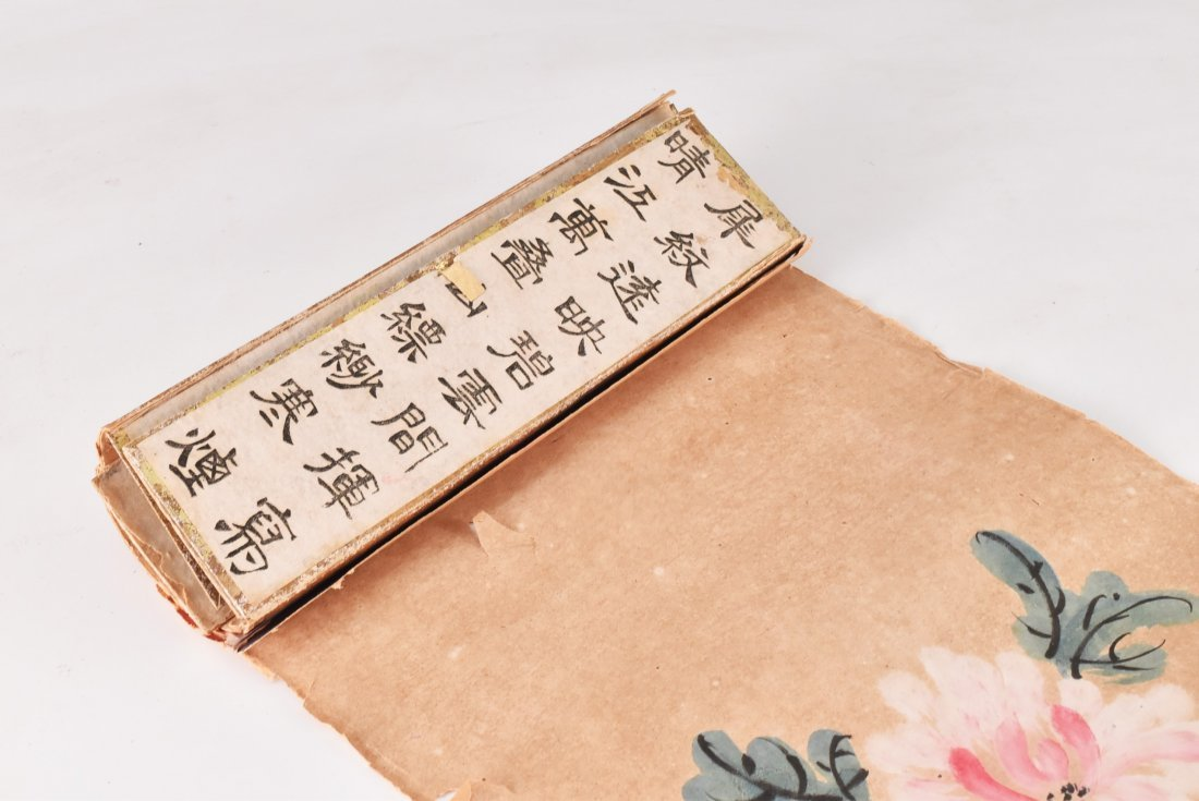 19TH C. SCROLL PAINTING AND WRITING INSTRUMENTS - 7