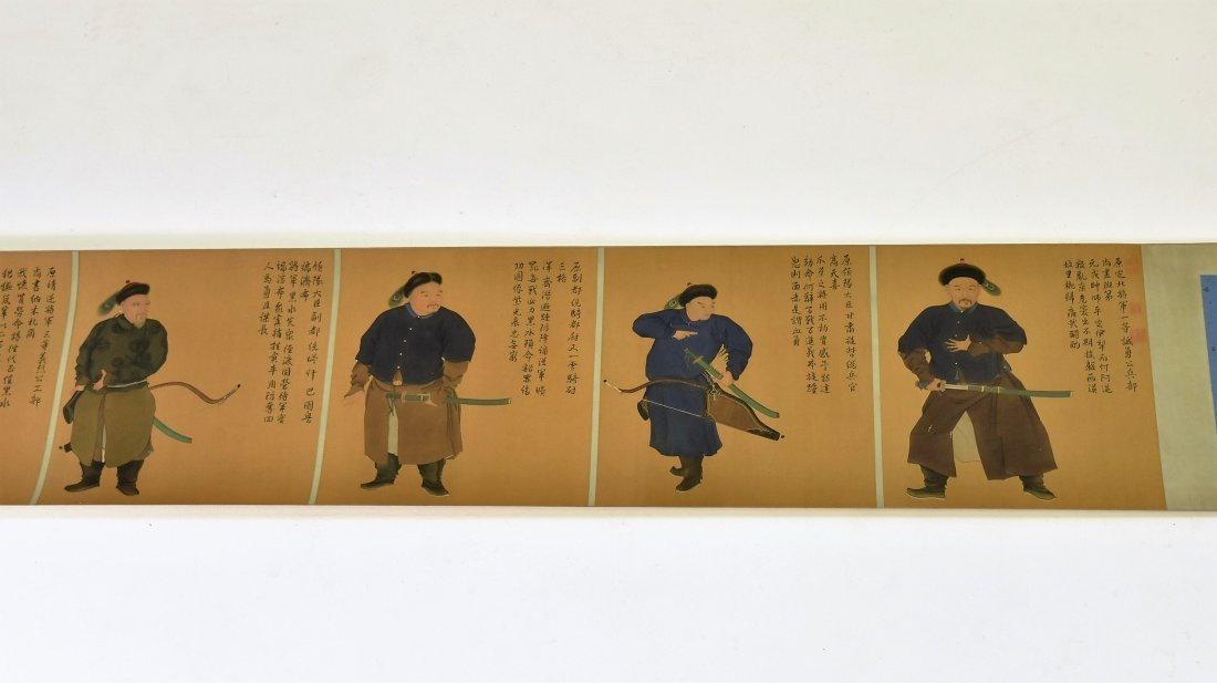 JIN TINGBIAO, QING LONG SCROLL PAINTING OF HEROS - 2