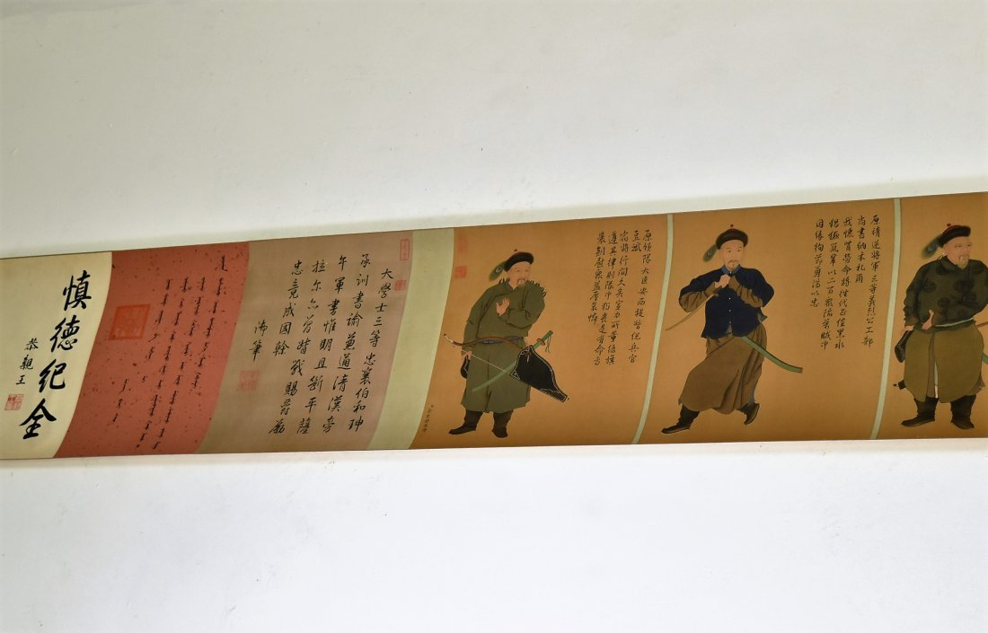 JIN TINGBIAO, QING LONG SCROLL PAINTING OF HEROS - 3