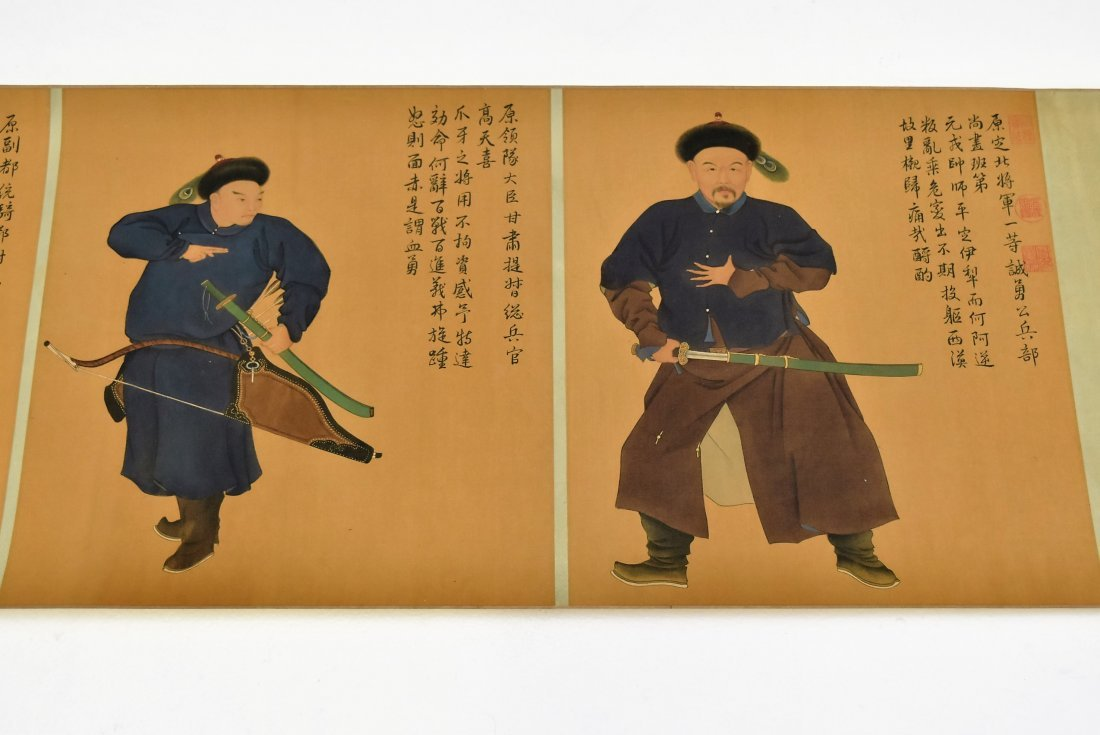 JIN TINGBIAO, QING LONG SCROLL PAINTING OF HEROS - 5