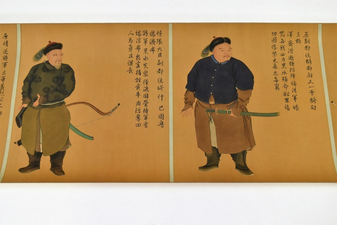 JIN TINGBIAO, QING LONG SCROLL PAINTING OF HEROS - 6
