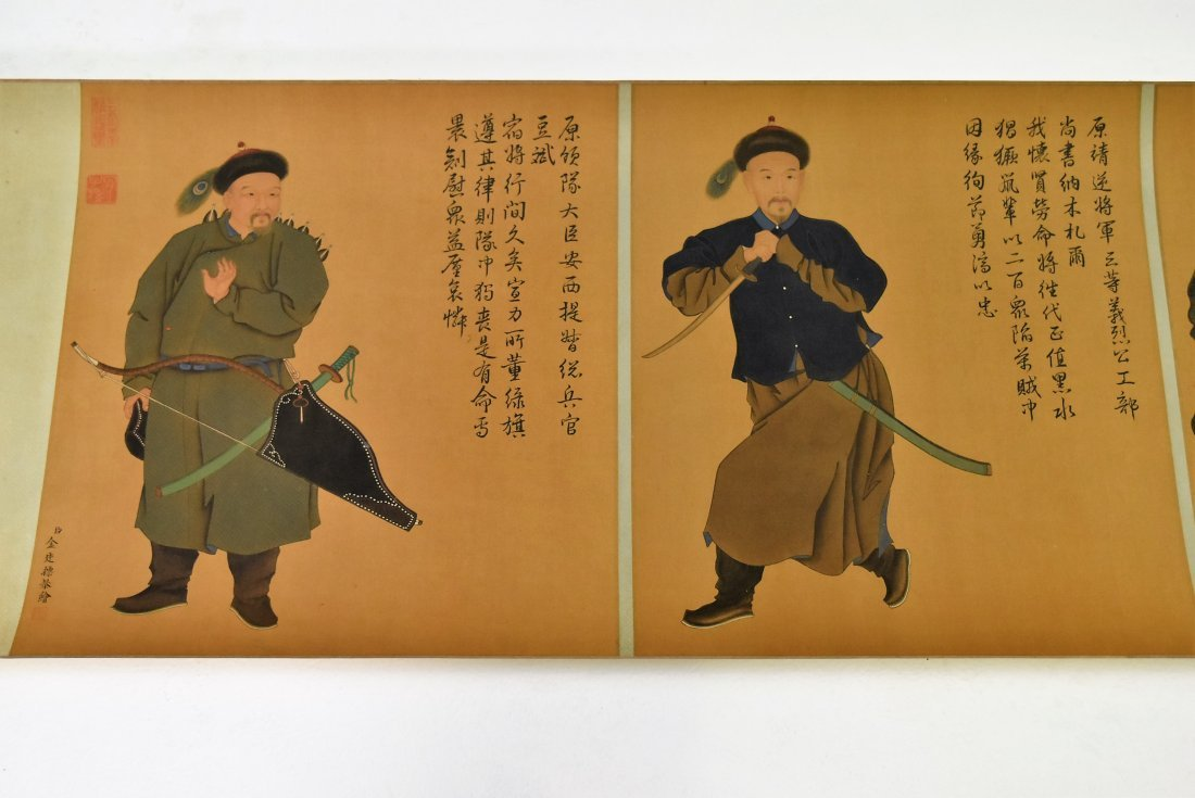 JIN TINGBIAO, QING LONG SCROLL PAINTING OF HEROS - 7