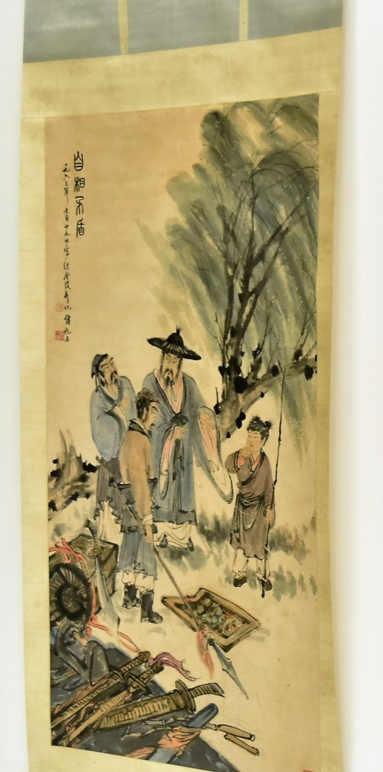 FU BAOSHI (1904-1965) LARGE CHINESE SCROLL  PAINTING - 6
