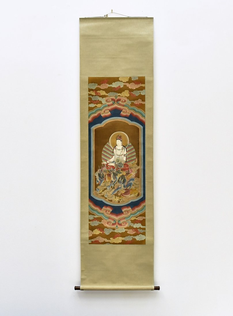 CHINESE WATERCOLOR SILK PAINTING OF GUANYIN