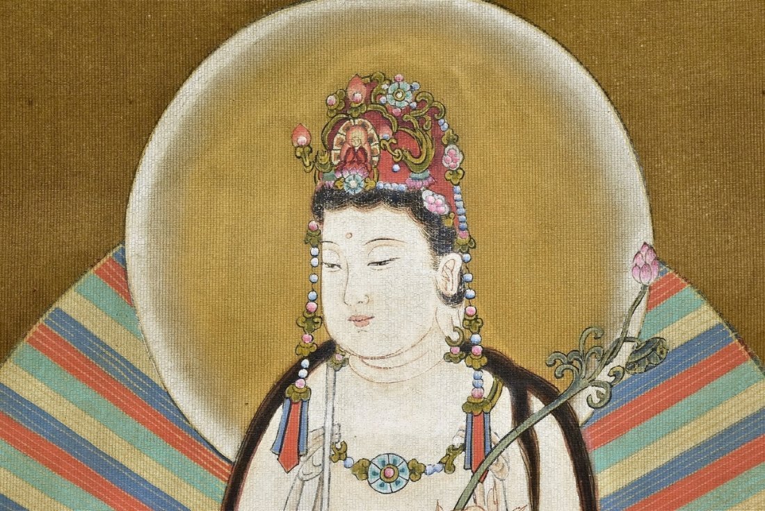 CHINESE WATERCOLOR SILK PAINTING OF GUANYIN - 4