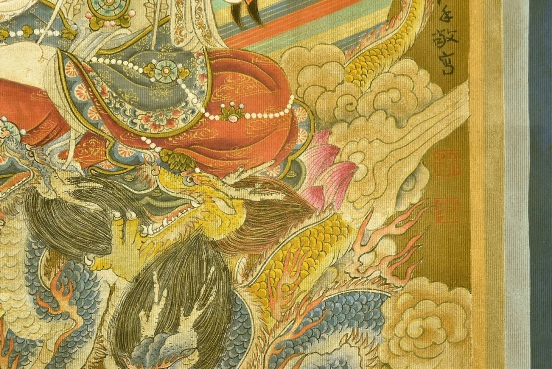 CHINESE WATERCOLOR SILK PAINTING OF GUANYIN - 9