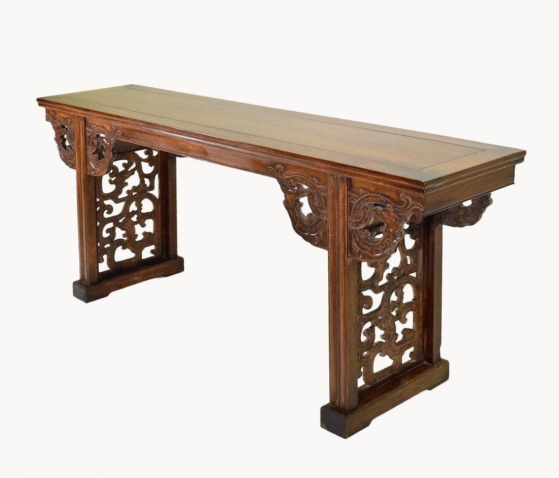 OPEN WORK FRAME LEGS HUANGHUALI LONG ALTAR TABLE