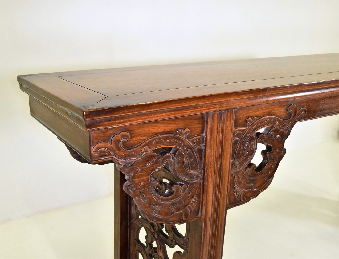 OPEN WORK FRAME LEGS HUANGHUALI LONG ALTAR TABLE - 3
