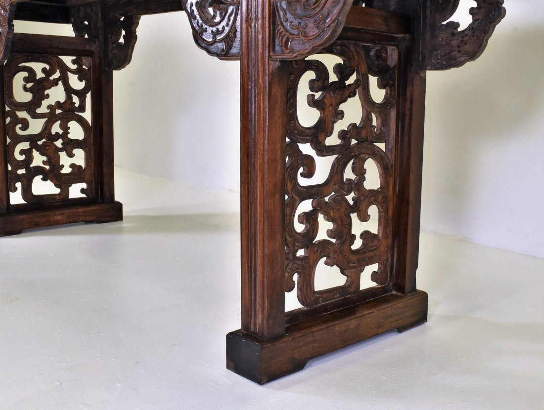 OPEN WORK FRAME LEGS HUANGHUALI LONG ALTAR TABLE - 4
